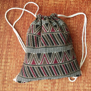 Drawstring Tribal Backpack Boho Ethnic Festival bag Rucksack Folk Woven Hippie Styles Gypsy Nepali fabric Tote Bohemian gray brown gift men