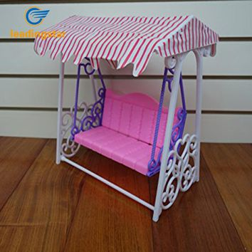 LeadingStar Lovely Plastic Pink Garden Swing Play Set For Doll Great as Children Play Toy Doll Accessories