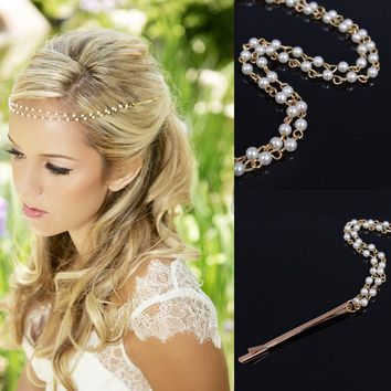 Fashion Round Simulated-Pearl Hair Clip for Women Chain Hairpins Bridal  Wedding Hair Accessories Barrette Dish Hair Jewelry