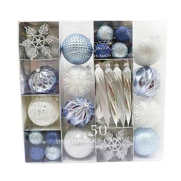 50CT Shatterproof Christmas Ornaments Midnight Clear