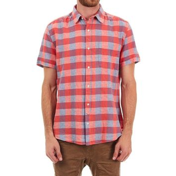 Diego Linen Plaid Button Down Shirt in Red