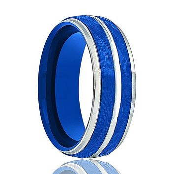 Men's Tungsten Wedding Band with Silver Groove in Blue Hammered Center and Step Edges - 8MM