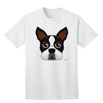 Cute Boston Terrier Dog Face Adult T-Shirt