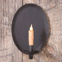 Primitive Oval Tinner's Smokey Black Tin Scoop Candle Sconce Set of Two