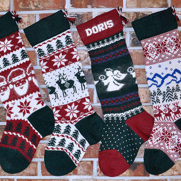personalized knit christmas stocking heirloom quality 100 woo