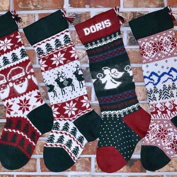 Personalized Knit Christmas Stocking, Heirloom Quality! 100% Wool. With or Without Angora Trim