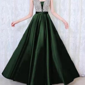 New Green Patchwork Sequin Grenadine Pleated Sparkly Glitter Birthday Prom Evening Party Maxi Dress