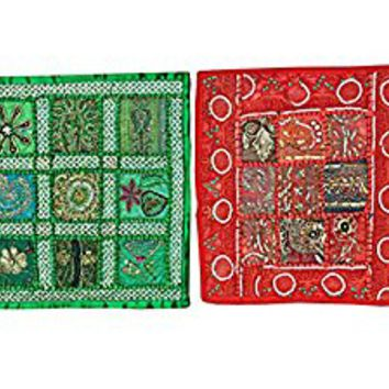 """2 Home Decor Pillow Cover Sequins Embroidered Patchwork Cushion Case Indian Art 16"""" X 16"""""""