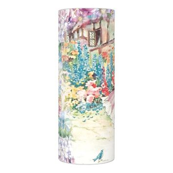 Vintage Woman in French Country Garden Watercolor Flameless Candle