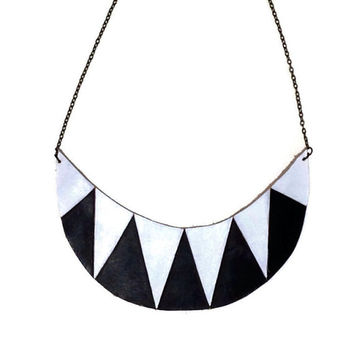 Black and White leather statement necklace,Painted Aztec necklace, Chevron Necklace, Art Deco necklace, tribal necklace, boho necklace