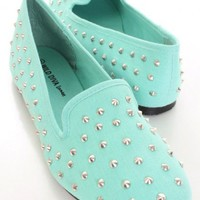 Mint Canvas Fabric Spike Studded Loafer Flats @ Amiclubwear Flats Shoes online store:Women's Casual Flats,Sexy Flats,Black Flats,White Flats,Women's Casual Shoes,Summer Shoes,Discount Flats,Cheap Flats,Spring Shoes,Cute Flats Shoes,Women's Flats Shoes,Sne