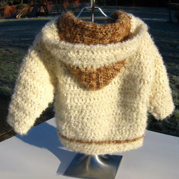 Hooded Cardigan Sweater Jacket Off White Brown Mohair Wool Crochet Winter Spring Fall Autumn Fashion