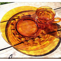 5 Amber Glass Snack Sets, Kings Crown Thumbprint Pattern from Indiana Glass Co. PLUS BONUS PLATE