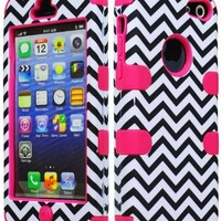 Bastex Hybrid Case for Apple iPhone 5c - Hot Pink Silicone with Hard Black & White Chevron Pattern Shell