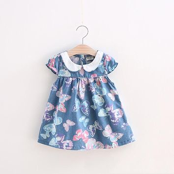 Summer Baby Girls Dress Cotton Floral Butterfly Party Dress Infant Kids Girls Dress Children's Clothing Outfit