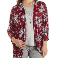 Floral Print Kimono with Lace Back by Charlotte Russe