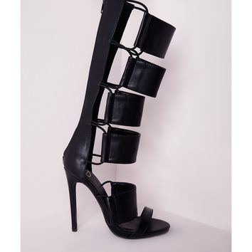 Missguided - Elastic Detail Gladiator Heeled Sandals Black