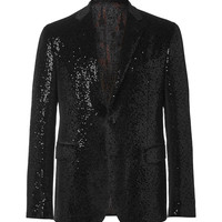 Etro - Black Sequinned Velvet Tuxedo Jacket