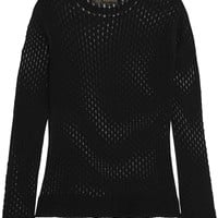 Versace - Open-knit cotton and silk-blend top