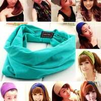 Women Lady Colored wide yoga headband stretch hairband elastic hair band turban = 1932287428