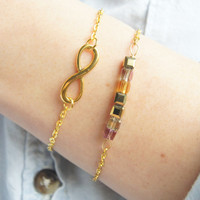 Amber Glow and Infinity Gold Bracelet - Purple, Gold, Bronze