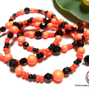 Lanyard Beaded Id Necklace Black and Orange Swarovski Pearls Czech Glass Guardian Angel Handmade Jewelry Breakaway PinkCloudsAndAngels