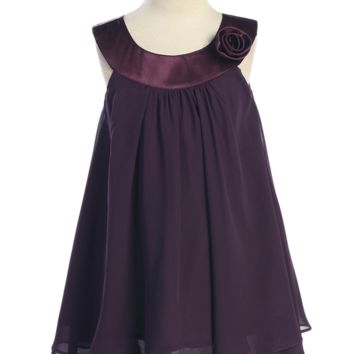 Purple Chiffon Shift Dress with 2 Tier Hem & Satin Neckline (Girls 2T - Size 14)