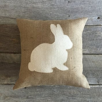 Burlap Rabbit PIllow, Easter Pillow, Spring Pillow,,Cotton Muslin pillow,Bunny Pillow,Burlap Pillow,Front Porch,Front Porch Pillow