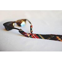 Plaid Sunglass Straps in Green, Black and Red by CottonSnaps