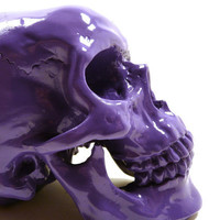 goth halloween skull head, purple, spooky, skulls, eclectic home decor, purple decor, creepy, october, autumn, heads