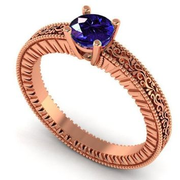 Rose Gold Solitaire Filigree Sapphire Ring Unique Blue Sapphire Engagement ring Milgrain Ring 18K Christmas Ring
