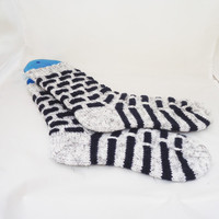 Wool Women Socks, Handknitted Women Socks, White and Dark Blue Socks, Knit Socks
