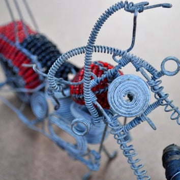 Red Harley Davidson motorcycle (Beaded African wire sculpture)