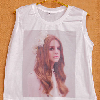 Lana Del Rey With Flower Flora Pop Punk Vintage Lady Women Fashion T shirt Muscle Crop Tank Top Size S M L