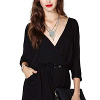 Nasty Gal Draped Across Dress - Black