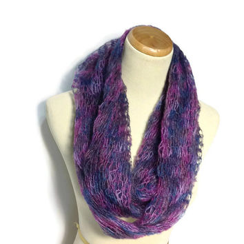 Purple Cowl,Circle Scarf, Infinity Scarf, Fiber Art,Fashion Scarf, Winter Scarf, Cowl, Blue