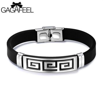 GAGAFEEL Man Bracelet Great Wall Pattern Stainless Steel Vintage Silicone Bracelet Rubber Wristband Cool Men Jewelry Dropshiping
