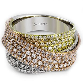 Simon G. Pave Set Tri-Color Right Hand Diamond Crossover Ring