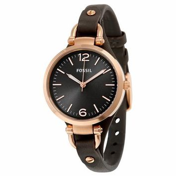 Fossil Womens ES3077 Brown Leather Band Rose Gold Watch
