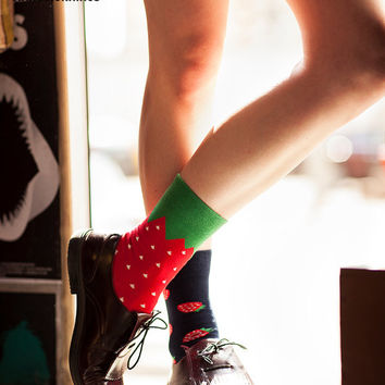 Strawberries Socks | mismatched socks | mens socks | casual socks | cool socks | women socks  | funny socks | patterned socks | fruits socks