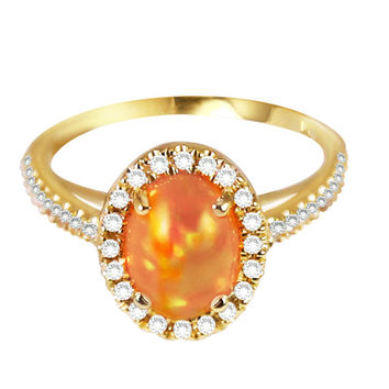 Mexican Fire Orange Opal with Yellow and Green Sparkles, 14kt Yellow Gold, Diamond Halo Ring handmade by Gevani Jewelry