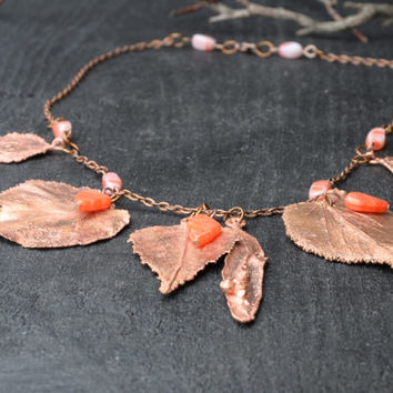 boho chic leaves necklace copper statement bib necklace electroformed boho style jewelry womens gift hippie fall necklace