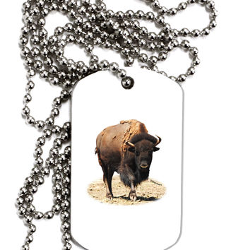 Strong Bison Cutout Adult Dog Tag Chain Necklace