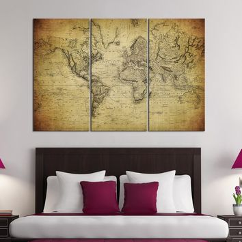 Large Wall Art Vintage World Map Canvas Print Set - For Home and Office Design, Large Wall Art  World Map - Extra Large Map on Canvas Art