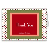 Personalized Thank You, Holiday Colors/polka dots Greeting Card