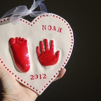Kids and Baby's hand and footprint Ceramic Keepsake of your little one,  Gift idea for Mom and Dad