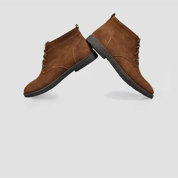 Men's Nubuck Leather Casual Lace Up Desert Chukka Ankle Boots