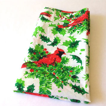 "Vintage Christmas Fabric. Curtain. Valance. Cardinals, Holly and Fir. Red, Green, White. Quilting, Sewing, Crafting Supply. 23"" x 54""."