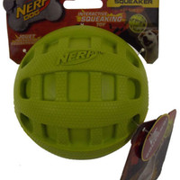 "Nerf Dog Green Interactive Squeaker Toy 4"" Extra Strong Rubber Ball Puppy Throw"