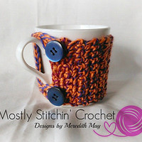Simple 2 Button Cup Cozy pattern by Mostly Stitchin' Crochet Designs by Meredith May